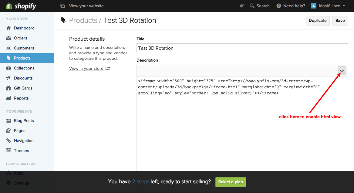 Shopify Integration - 360° Product View Creator
