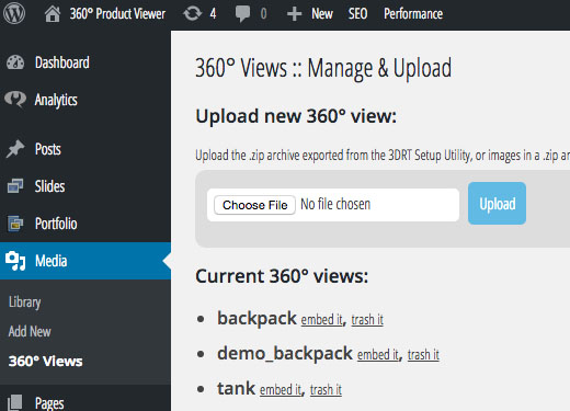 Uploading of images for a 360 view now directly in admin zone!